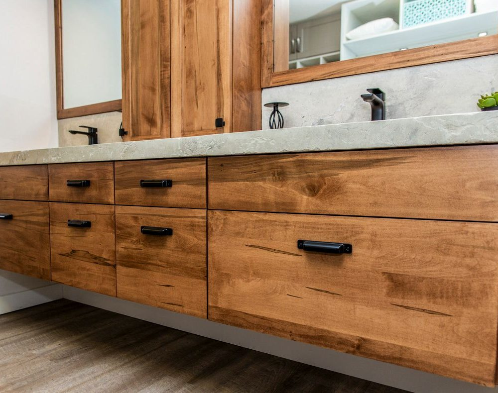 Double Sink Bathroom Vanity, Cabinets and Mirrors