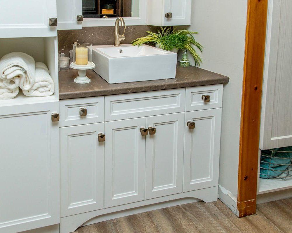 Custom Bathroom Vanity, Cabinet and Shelves